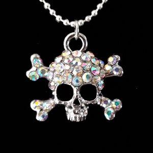 NWOT Crystal Skull and Crossbones Pendant